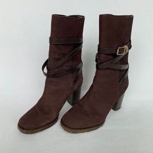 Tory Burch Jaime Brown Suede Calf Boots with Strap